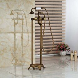 GOWE Brass Antique Free Standing Clawfoot Bath Tub Filler Faucet Floor Mounted Dual Cross Handles