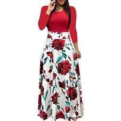 iLUGU Neutral Maxi Dress for Women Long Sleeve Round Collar Dot Floral Print Patchwork Solid Col ...