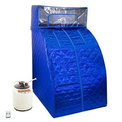 West Ivory Blue Portable Therapeutic Personal Steam Sauna Spa Room 2L Water Capacity with Headco ...