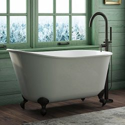 "58″ Cast Iron Swedish Tub with NO Faucet Holes & Oil Rubbed Bronze Feet-""Holt"""