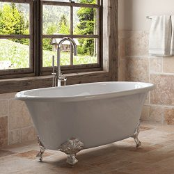 60″ Cast Iron Double Ended Clawfoot Tub Complete Chrome Modern Freestanding Package-&#8220 ...