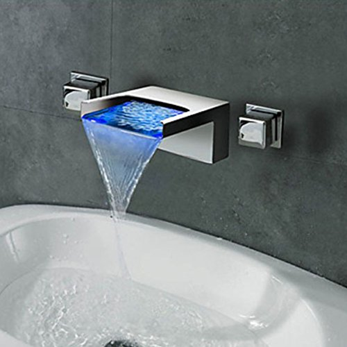 LightInTheBox Contemporary Wall Mounted Waterfall LED Color Changed Design Ceramic Valve Two Han ...
