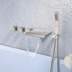 Longjie wall Mounted Brushed Nickel Waterfall bathtub Faucet with Hand Shower