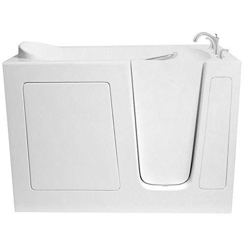 ARIEL Walk-in Bathtub in White with Right Side Drain Soaker Series 48′ x 30″ x 38″