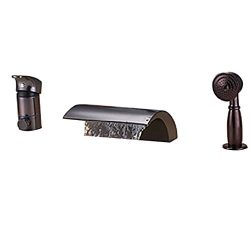 2.0 GPM Oil Rubbed Bronze Bathtub Faucets with Hand Shower Bathroom Tub Faucet Set by Waiting Home