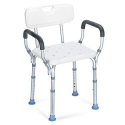 OasisSpace Heavy Duty Shower Chair with Back – Bathtub Chair with Arms for Handicap, Disab ...