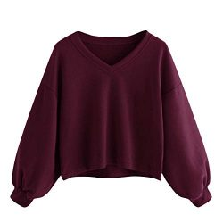 Casual Sweatshirt for Women,Chaofanjiancai Ladies Long Sleeve Sweater V Neck Pullover Shirts Sol ...