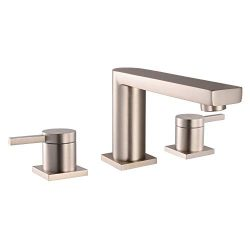 MR. FAUCET 3 Hole Basin Deck Mount Two-Handle Widespread Bathroom Sink/Bathtub Faucet, Brushed N ...
