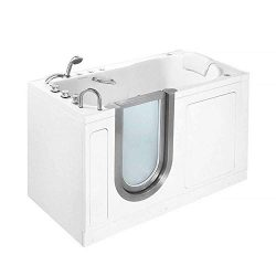 Ella Deluxe 30″x 55″ Air and Hydro Massage Acrylic Walk-In Bathtub, Thermostatic Fau ...