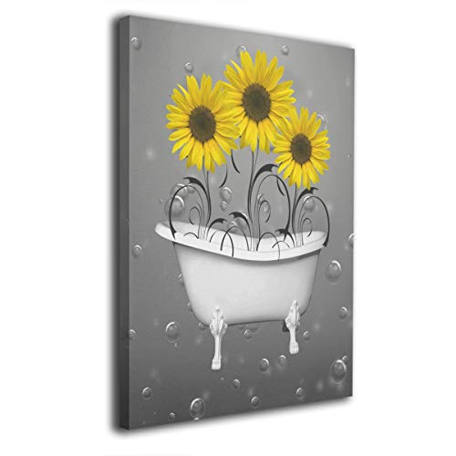 Ale-art Yellow Grey Sunflowers in Bathtub Bubbles Wall Art for Living Room Bedroom Canvas Wall A ...