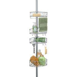 InterDesign Twigz Metal Wire Tension Rod Corner Shower Caddy, Adjustable 5′-9′ Pole  ...
