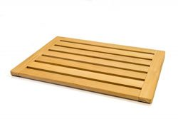Natural Teak Wood Bath Mat Shower Mat by Home Fundamentals: Non-Slip Bathtub Sauna Spa Mat Seale ...
