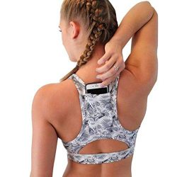 Ugood Women Solid Sport Bra Back Pocket Running Yoga Bras Padded High Impact Workout (Size:M, Co ...