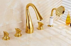 Gyps Faucet Basin Mixer Tap Waterfall Faucet Antique Bathroom Gold-plated jacuzzi split five-pie ...