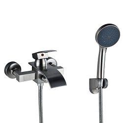 Rozin Brushed Nickel Waterfall Bathtub Faucet with Handheld Shower