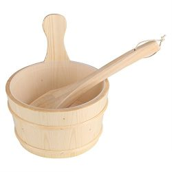 Fdit Sauna Wooden Bucket and Ladle Set with Plastic Liner 6L Volume Smooth Surface White Pine Wo ...