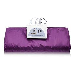 Pettyios Far Infrared Sauna Blanket, 110V 2 Zone Waterproof Detoxification Blanket with Safety S ...