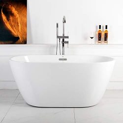 "FerdY 55"" Acrylic Freestanding bathtub, White Modern Stand Alone bathtub Soaking Bathtub,  ..."
