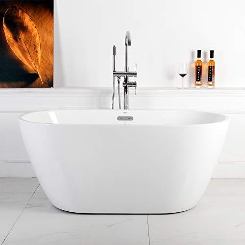 """FerdY 55"""" Acrylic Freestanding bathtub, White Modern Stand Alone bathtub Soaking Bathtub,  ..."""