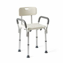 Medline Shower Chair Bath Seat with Padded Armrests and Back, Great for Bathtubs, Supports up to ...