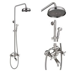 Rozin Wall Mounted 2 Knobs Mixer Bathtub Shower Faucet Combo 8-inch Top Rainfall Showerhead + Ha ...