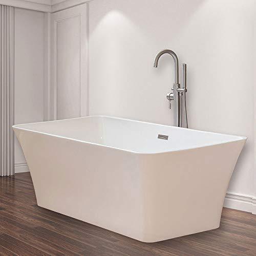 WOODBRIDGE White 67″ Acrylic Freestanding Bathtub Contemporary Soaking Tub with Brushed Ni ...