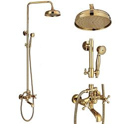 Votamuta Gold Finish Bathroom 8-Inch Rainfall Shower faucet Set Wall Mounted Bathtub Shower Mixe ...
