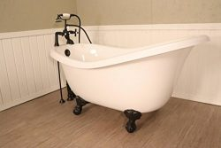 Ahqua – (Blem E) Whitney 60″ Slipper Bathtub with Aged Bronze Clawfoot and Deck Moun ...