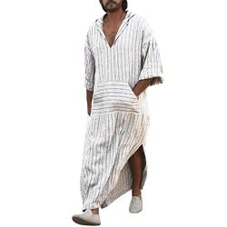Lovewe Mens Ethnic Robes,Loose Striped Long Sleeve Hooded Vintage Casual Dress,Kaftan (M) White