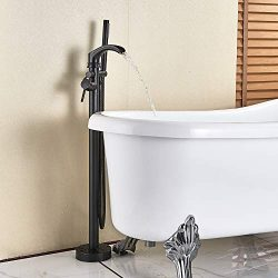 Senlesen Freestanding Bathtub Shower Mixer Taps Floor Mounted Single Handle Clawfoot Tub Filler  ...