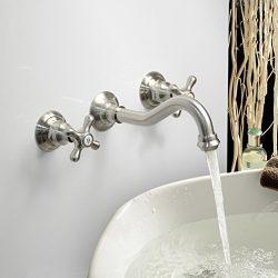 LightInTheBox Modern Bathroom Sink Faucet Wall Mount bathtub faucets Cross 2 Handles Long Curve  ...