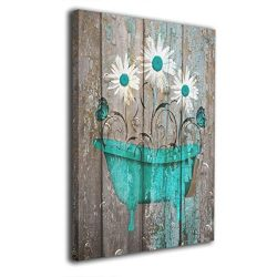 Okoart Canvas Wall Art Prints Teal White Rustic Flower Bathtub Farmhouse Bathroom Powder Room -P ...
