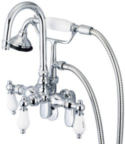 Water Creation F6-0011-01-AL Vintage Classic Adjustable Spread Wall Mount Tub Faucet with Goosen ...