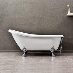 WOODBRIDGE 67″ x 30″ Slipper Clawfoot Bathtub with Solid Brass Polished Chrome Finis ...