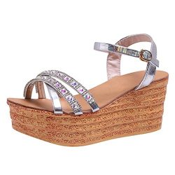 Women's Wedge Sandals Ankle Strap Rhinestone Chunky Platform Open Toe Sandals High Heels ( ...