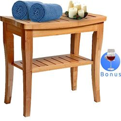 Bamboo Shower Bench Seat Wooden Spa Bath Deluxe Organizer Stool With Storage Shelf For Seating C ...