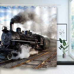 NYMB Steam Engine Shower Curtain, Train on Railroad Track Showre Curtains, Waterproof Polyester  ...