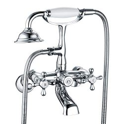 Victoria Bathroom Tub Bathtub Bath Faucet with Hand Shower Chrome Wall Mounted Two Handles