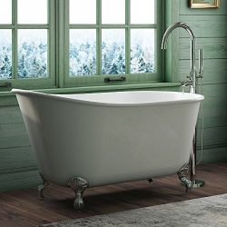 "54″ Cast Iron Swedish Tub with NO Faucet Holes & Chrome Feet-""Gentry"""
