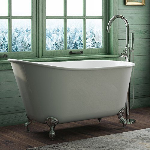 """54″ Cast Iron Swedish Tub with NO Faucet Holes & Chrome Feet-""""Gentry"""""""