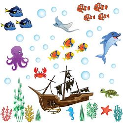 treepenguin Ocean Wall Decals for Kids Rooms – Under The Sea Fish Wall Decor – Bathroom Wa ...