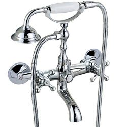 Bathtub Clawfoot Tub Wall Mount Clawfoot Tub Shower Faucet Brass Polished Chrome Silver Shower F ...