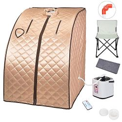 AW 2L Portable Steam Sauna Spa Full Body Sauna Tent Slim Weight Loss Detox Therapy Home with Cha ...