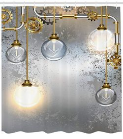Ambesonne Industrial Decor Shower Curtain, Steampunk Antique Composition Brass Fastening Round F ...