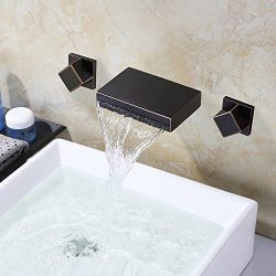 LightInTheBox Waterfall Oil-rubbed Bronze Bathroom Sink Faucet ORB Bathtub Faucets Wall Mounted  ...