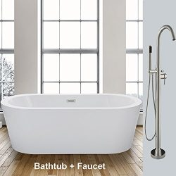 WOODBRIDGE 59″ Acrylic Freestanding Bathtub Soaking Tub Brushed Nickel Faucet, B-0012 + F-0001
