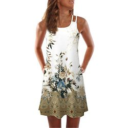 Women's Summer Sleeveless Mini A-Line Beach Sundress Vintage 3D Floral Print Tank Top Dres ...