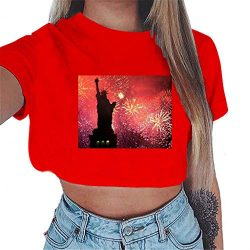 Women Tank Tops American Flag Print Short Sleeve T-Shirts Tees Casual Vest Blouse Large Size (Re ...