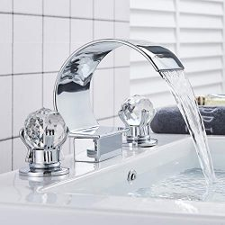 Rozin Arc Waterfall Spout Bathtub Filler Faucet 2 Crystal Knobs Vanity Basin Mixer Tap 8-inch an ...