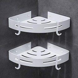 Gricol Bathroom Shower Shelves Corner Triangle Self Adhesive Wall Shower Caddy Wall Mount No Dri ...